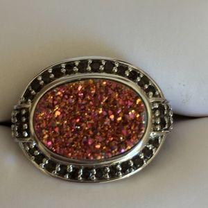 NEW! Pink Druzy w/garnet stones in 9.25 Silver